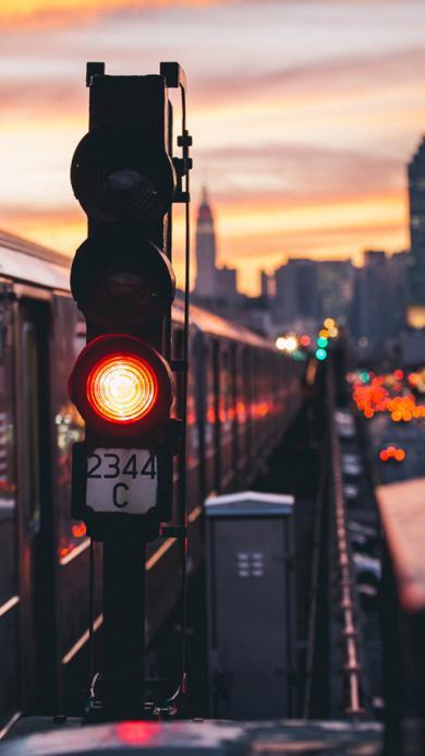 红绿灯 街道 道路 夕阳
