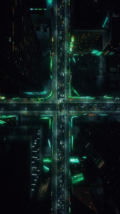 城市 都市 夜景 灯光 车流 十字路口