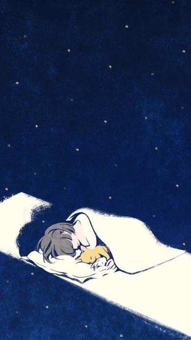 手绘女孩 熟睡 小黄狗 兔子 夜晚