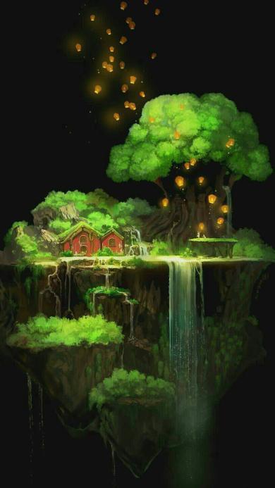 动漫场景 唯美小岛 木屋 大树 孔明灯