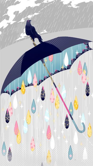 创意插画 雨天 老鹰 雨伞 彩色雨滴