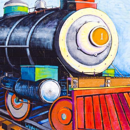 绘画 手绘 火车头 油画
