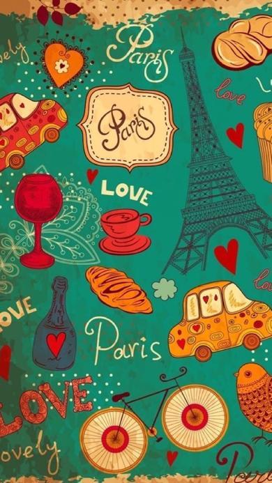 卡通 手绘 爱心 Paris