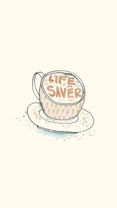 咖啡 水彩 插画 白色
