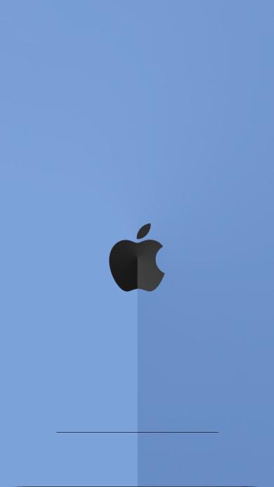 蓝色背景 苹果logo 简约