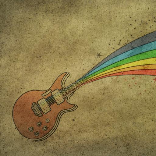 绘画 手绘 彩虹 吉他
