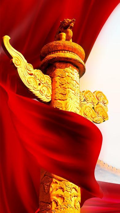 龙柱 旗帜 建军节 中国 红 飘扬