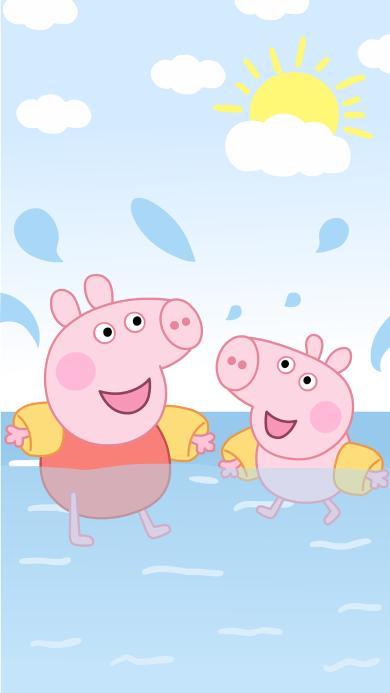 小猪佩奇 卡通 夏日 游泳 可爱 动画