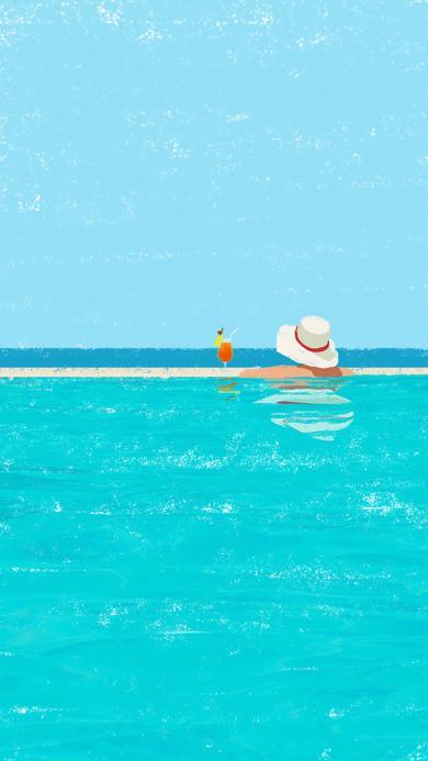 夏日插画 大泳池 游泳 饮品