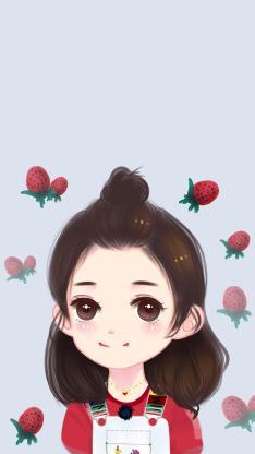 赵丽颖 可爱 明星 艺人 Q版 丸子头 草莓 粉色