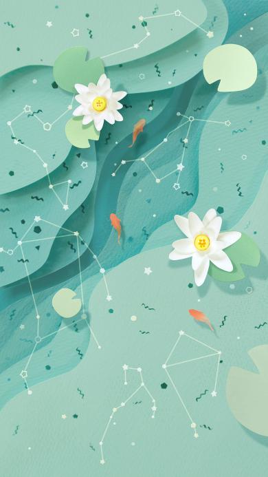 创意 手绘 荷花 植物 清新