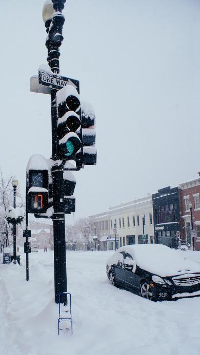 雪景 欧美 雪地 冬天 街道 红绿灯