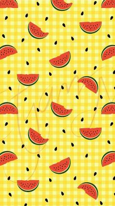 西瓜 平铺 黄色 网格 水果 夏日