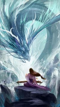 冰龙 游戏 琵琶 手绘