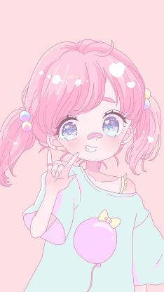 小女孩 粉色 可爱 卡通 小辫子