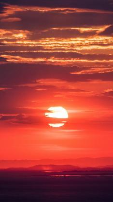 夕阳 落日 日落 晚霞 云 太阳