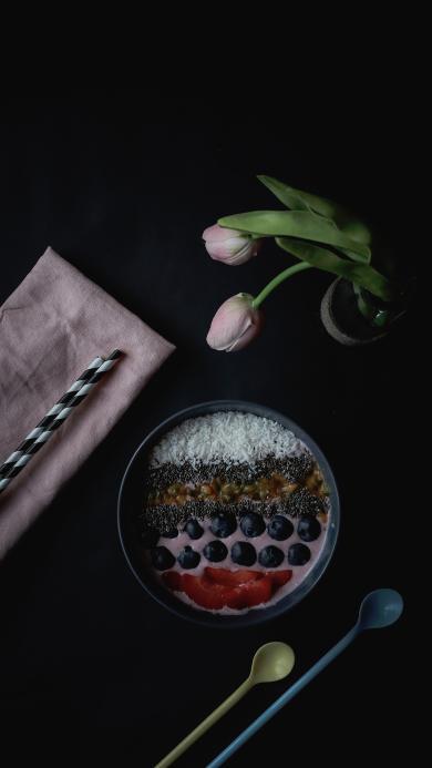 鲜花 甜品 蓝莓 精致