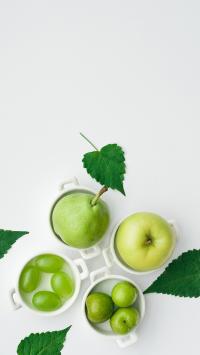 水果 创意 青苹果 葡萄 梨 李子