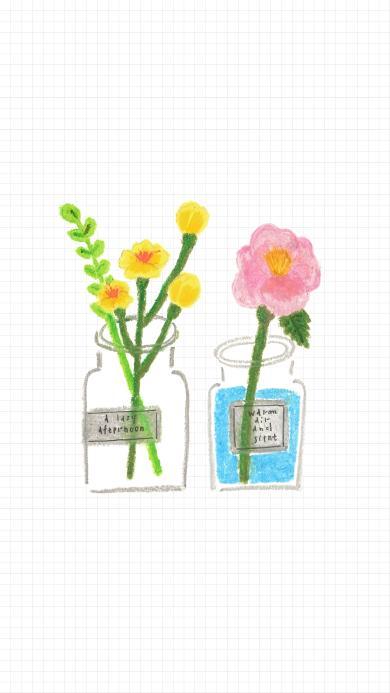 插花 插画 水彩 玻璃瓶 鲜花