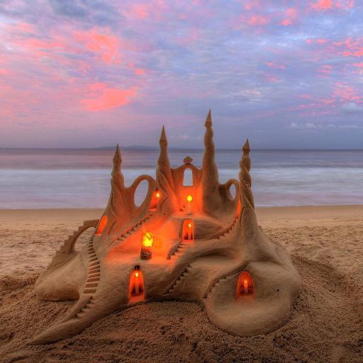 沙滩 风景 城堡 大海