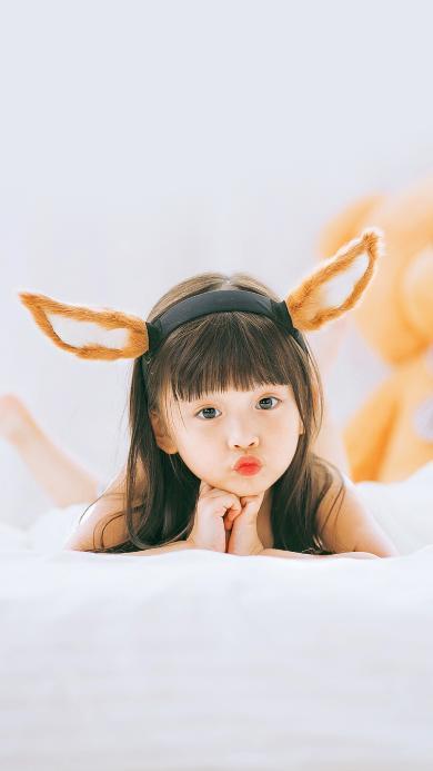 嘟嘴 小女孩 耳朵 可爱 小美女 萝莉