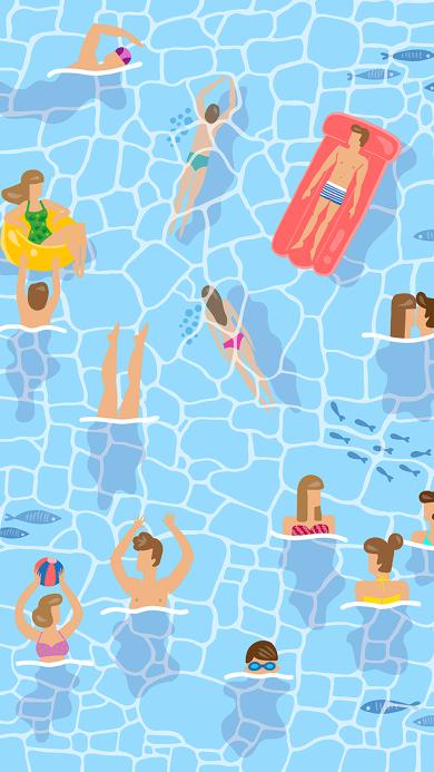 卡通 泳池 手绘 游泳