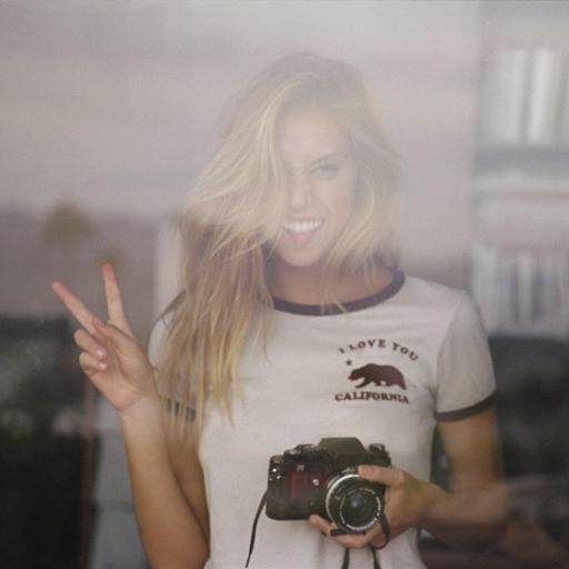 欧美金发美女 数码相机 剪刀手