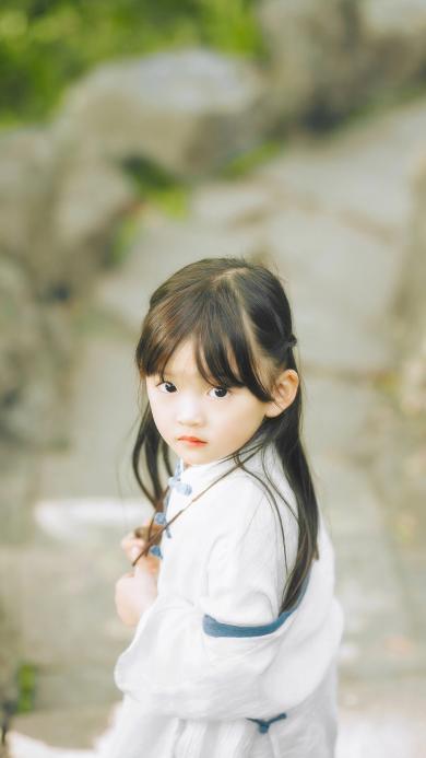 回眸 小女孩 耳朵 可爱 小美女 萝莉
