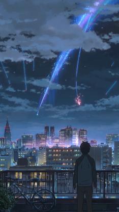 你的名字 新海诚 日本 漫画 电影场景 流星