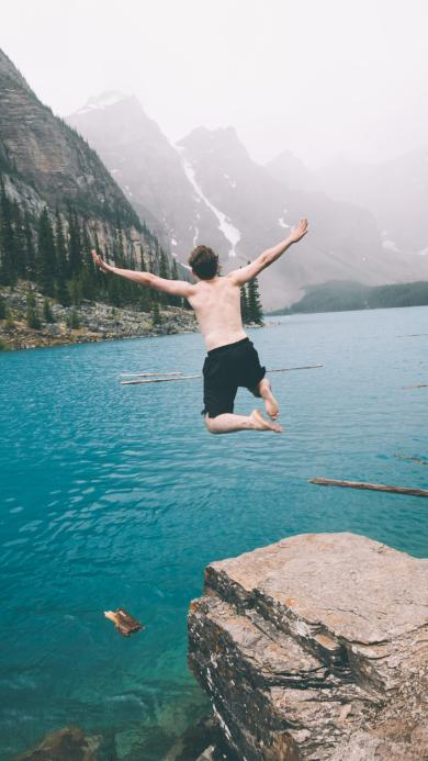 跳水 大海 背影 风景