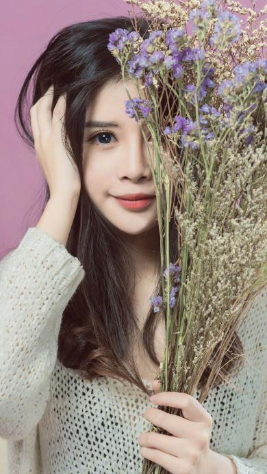 女孩 甜美 鲜花 干花 可爱