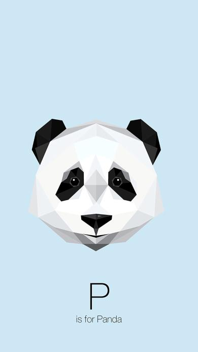 熊猫 panda 动物 平面设计 几何构成