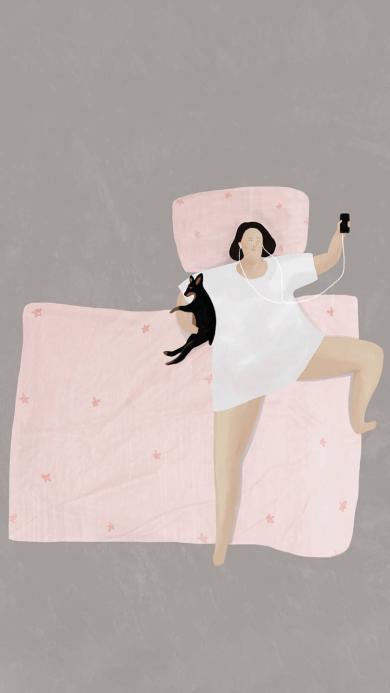 睡觉 惬意 胖女孩 狗 耳机