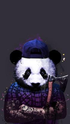 熊猫 斧头 黑社会 纹身