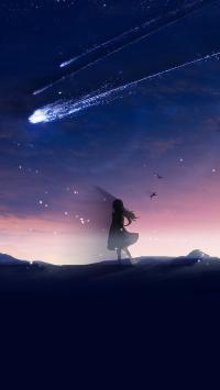 流星 夜空 插画 唯美 女孩 星空