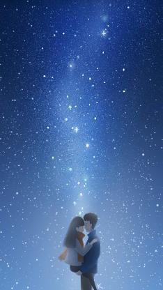情侣 爱情 浪漫 星空 蓝色