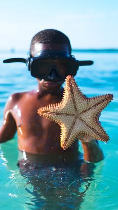 潜水 大海 小男孩 海星 运动