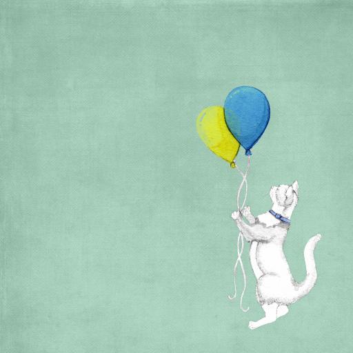 薄荷绿背景 手绘猫咪 气球