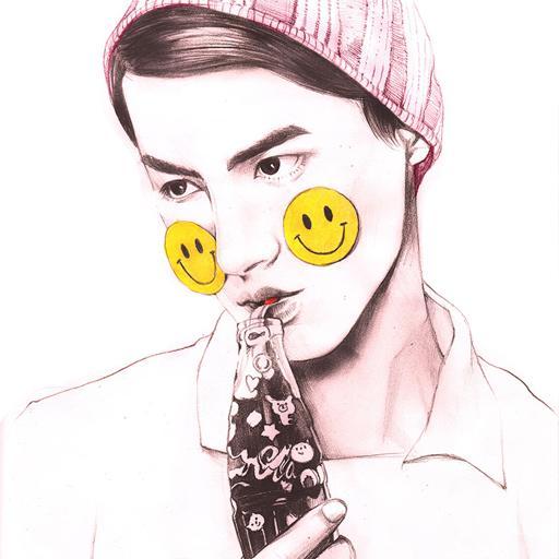 插画 手绘 笑脸 帽子
