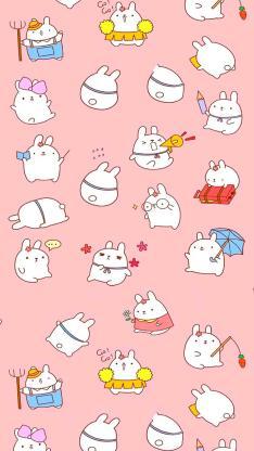 卡通 兔子 平铺 可爱