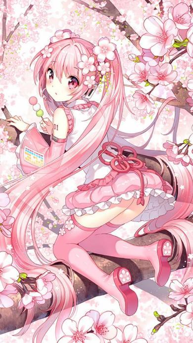 动漫少女 粉 樱花 树枝