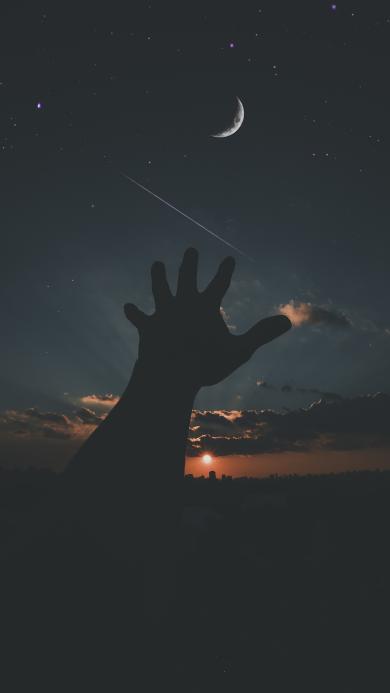 夜空 月亮 星空 伸手