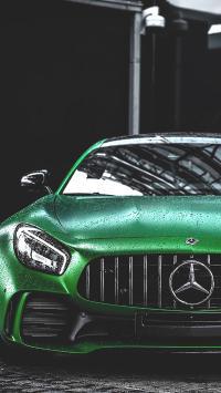 奔驰 车头 豪车 炫酷 绿色