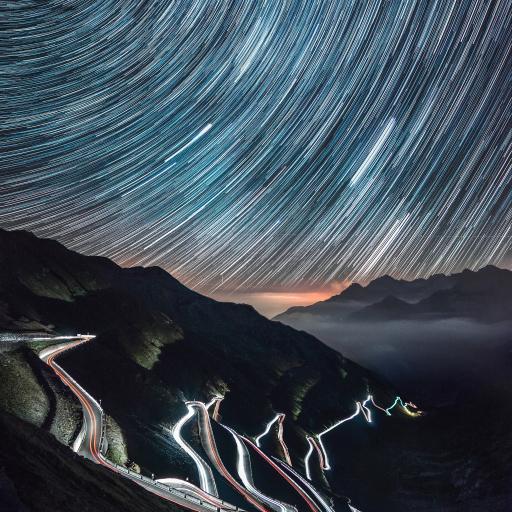山下夜景 天空 光圈美景 自然
