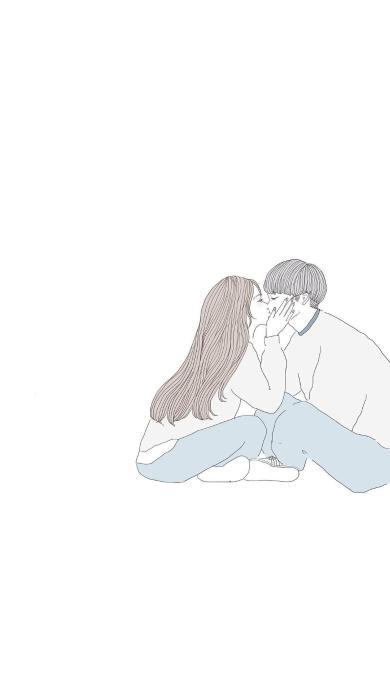 情侣 情感 简约 简笔画