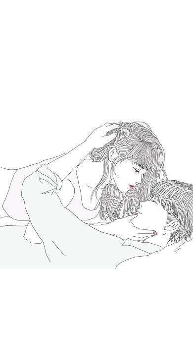情侣 情感 简笔画 创意 简约