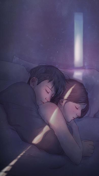 情侣 拥抱入水 手绘 情感