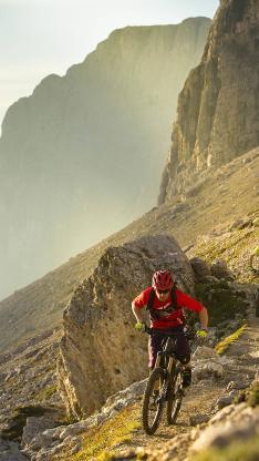 自行车 山地 运动 山峰