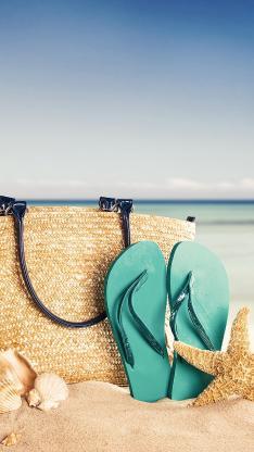 大海 沙滩 拖鞋 草包