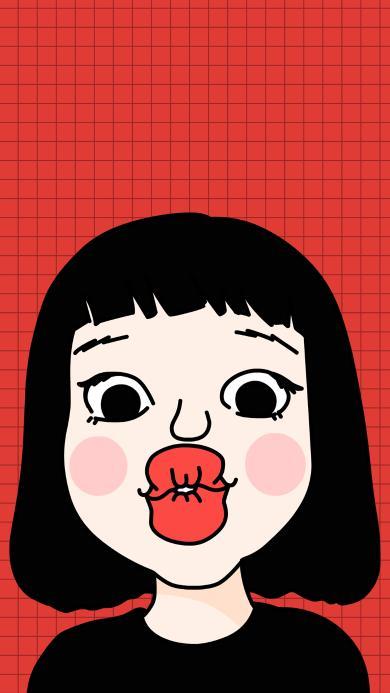 噘嘴 红色 齐刘海 女孩 蘑菇头